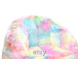 Rainbow Faux Fur Bean Bag Chair, Pastel Tie Dye
