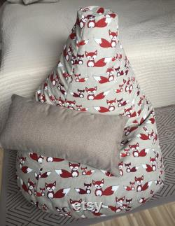 Red fox bean bag chair, Cute fox gift, Natural linen beanbag cover, Cotton insert, Fill is not included