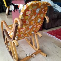Rocking vintage chair for children deco bedroom or wooden living room and redesigned fabric