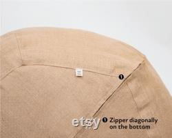 Round Wool Bean Bag Chair Washable Cover, Oeko-Tex Certified Wool Filling ANY SIZE on request