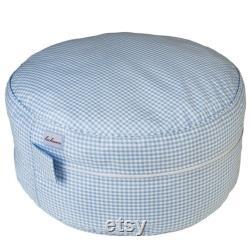 Seat cushion-Pouf Vichykaro pink light Blue