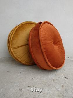 Set 2 Round Velvet Floor Pouf French mattress Pouf Luxury Velvet floor cushion or window Seat Quilted Mattress Cushion Velvet Cushion