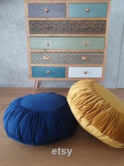 Set Two Round Pouffes, Round Velvet Floor Pouf Round Cushion OCHRA TEAL