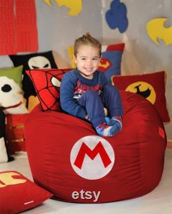 Super Mario bean bag cover, Super Mario game, Super Mario Gift, Super Mario decor, Super Mario Logo, Superhero room, Pouf, (COVERS ONLY)