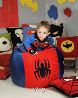Superhero Kids bean bag cover, Superhero beanbag, Superhero decor, Superman, Batman, Spiderman, Iron Man, Children bean bag, (COVERS ONLY)