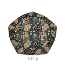 Tropical Leopard Print Minimal Bean Bag Chair Cover