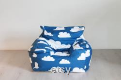 UNFILLED children's beanbag chair in Farg and Form blue cloud print Scandinavian premium cotton fabric