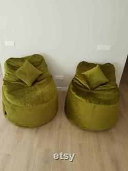 Velour Bean Bag Chair Inner and Outer Bags With Zippers Cover