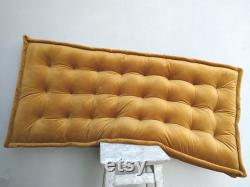 Velvet Floor Pouf, french mattress, velvet floor cushion, Floor mattress, Window seat , Quilted Mattress , Bench cushion, Daybed mattress