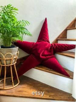 Velvet Star Beanbag, boho living, boho cushion rose, dark blue, garnet, purple and dark green velvet star cushions