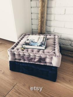 Velvet pouf, French mattress, hand-quilted mattress, bespoke pillow, floor cushion LIGHT PINK