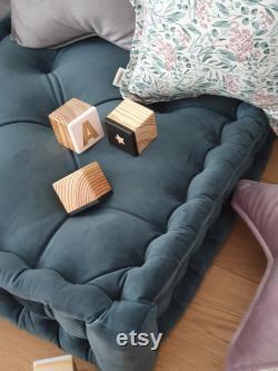 Velvet pouf, French mattress, hand-quilted mattress, custom pillow, FLOOR CUSHION TEAL, PETROL