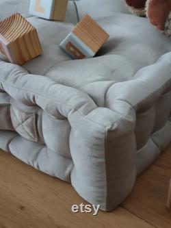 Velvet pouf, French mattress, hand-quilted mattress, custom pillow, floor cushion BEIGE