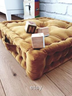 Velvet pouf, French mattress, hand-quilted mattress, custom pillow, floor cushion GOLD, MUSTARD