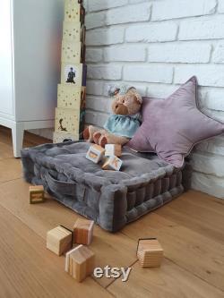 Velvet pouf, French mattress, hand-quilted mattress, custom pillow, gray floor cushion