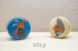 Vintage Asterix and Obelix Poufs, 1960s, 2 Set