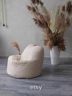 Waffle Natural Linen Fabric Bean Bag Chair for Kids Cover Inner and Outer Bags