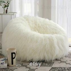 White Fluffy Long Fur Sofa Cover Beanbag Pouf Ottoman Big Bean Bag Chair Futon for Kids Adults Relax Lounge Furniture
