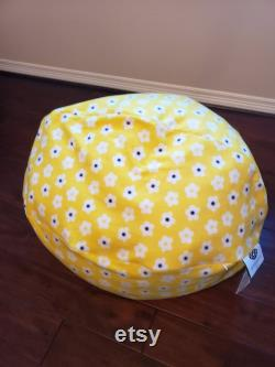 Yellow Bean Bag with white flowers