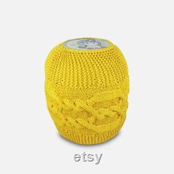 Yellow Child Pouf, Knitted Pouf, Nursery Pouffe, Ottoman Chairs, Round Pouffe, Floor Cushion, Kids Bean Bag Chair,