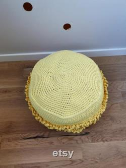 Yellow macaoons crochet pouf, Kids room pouf