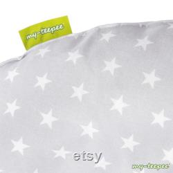 my-teepee Kids Bean Bag, grey blue with white stars, cover 100 cotton, made in Germany, separate inner bag
