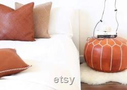 pouf artisanal Marocain en cuir